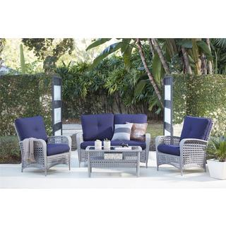 COSCO Outdoor Living 4-Piece Lakewood Ranch Steel Grey Woven Wicker Patio Furniture Conversation Set with Cushions
