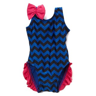 Famous Maker Infant/ Toddler Navy Chevron Ruffled 1-piece Swimsuit