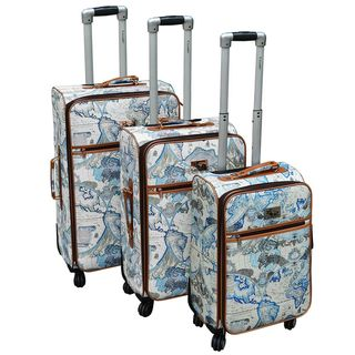 Chariot Map 3-piece Expandable Rolling Spinner Luggage Set