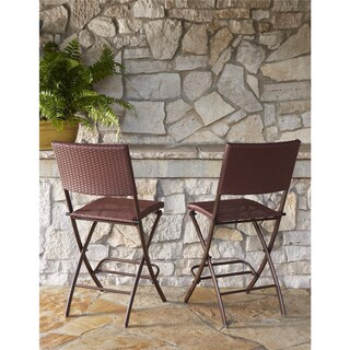 Clay Alder Home Commodore 2-pack Steel Woven Wicker Bistro Stools (2 options available)
