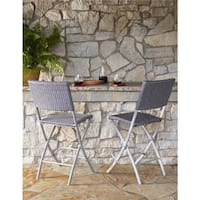 Clay Alder Home Commodore 2-pack Steel Woven Wicker Bistro Stools