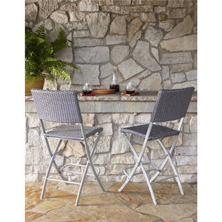COSCO Outdoor Living Transitional 2 Pack Delray Steel Woven Wicker High Top  Folding Patio Bistro