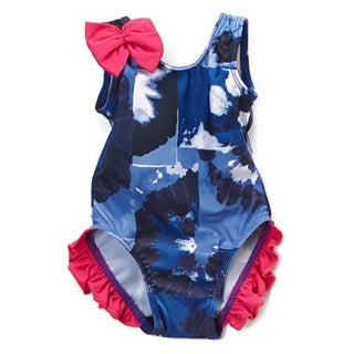 Famous Maker Infant/Toddler Blue Swell Ruffled One-piece Swimsuit