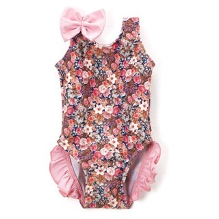 Famous Maker Infant and Toddler's Pink Nylon and Spandex Floral One-piece with Ruffles