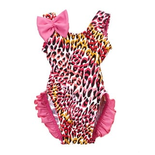 Dippin' Daisy's Infant and Toddler's Pink Nylon and Spandex Tiger One Piece with Ruffles