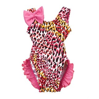 Famous Maker Infant and Toddler's Pink Nylon and Spandex Tiger One Piece with Ruffles