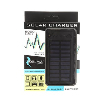 ZBANK 8000mAh Ultra-Compact High Speed Portable Solar Charger With Dual Output and LED indicator - Turquoise