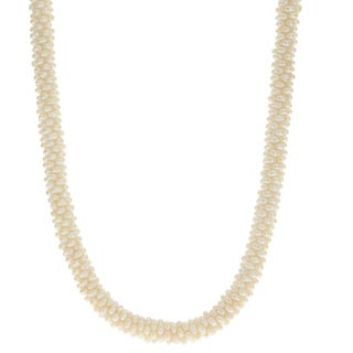 Pearls For You Sterling Silver White Freshwater Seed Pearl 18-inch Twist Necklace (2-3 mm)