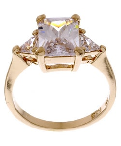 Icz Stonez Gold over Silver Emerald-cut CZ Ring