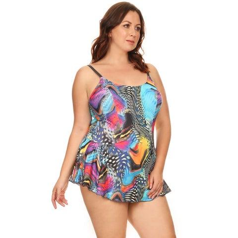 Famous Maker Women's Black/Silver Aqua Plus Size One-piece Swimdress