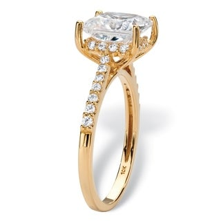 2.43 TCW Princess-Cut White Cubic Zirconia Bridal Engagement Ring in Solid 10k Yellow Gold Classic CZ
