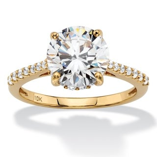Solid 10k Yellow Gold 3.31 TCW Round White Cubic Zirconia Bridal Engagement Ring