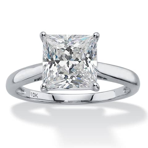 10K White Gold Cubic Zirconia Solitaire Engagement Ring