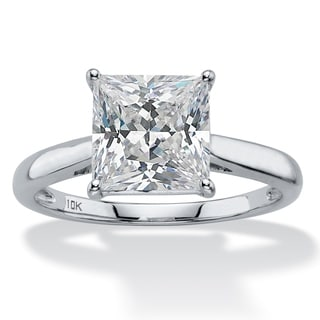 2.12 TCW Princess-Cut White Cubic Zirconia Solitaire Bridal Engagement Ring in Solid 10k White Gold Classic CZ