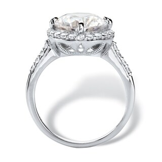 4.45 TCW Round White Cubic Zirconia Halo Bridal Engagement Ring in 10k White Gold Classic CZ