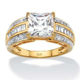 2.83 TCW Princess-Cut and Baguette Cubic Zirconia Multi-Row Engagement Ring in 10k Yellow Gold Classic CZ