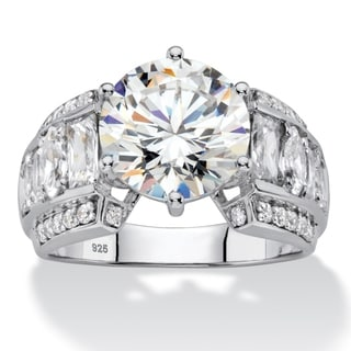 5.50 TCW Round White Cubic Zirconia Bridal Engagement Ring with Marquise and Baguette Accents  in Pl Glam CZ