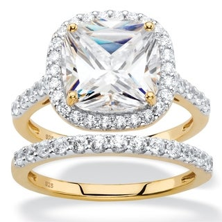 3.49 TCW Cushion-Cut White Cubic Zirconia 2-Piece Halo Bridal Ring Set in 18k Gold over Sterling Sil Classic CZ