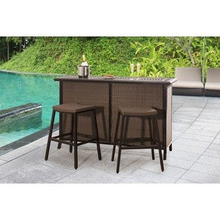 Milton Outdoor 7 Piece Brown Wicker Bar Set By Christopher Knight Home Free Shipping Today