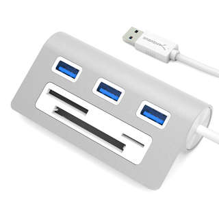 Sabrent HB-MACR Premium 3-port Aluminum USB 3.0 Hub for Mac/PC with Multi-in-1 Card Reader and 12-inch Cable