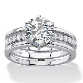 2.28 TCW Round White Cubic Zirconia 2-Piece Jacket Bridal Engagement Set in Platinum over Sterling S Classic CZ