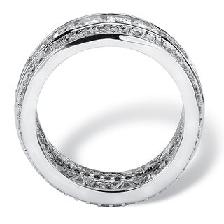 4.66 TCW Square-Cut and Round Triple-Row Cubic Zirconia Eternity Ring Platinum over Sterling Silver Glam CZ