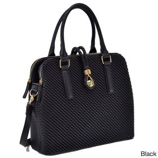 Deals on Dasein Faux Leather Medium Weaved Design Satchel Bag