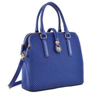 Dasein Faux Leather Medium Weaved Design Satchel Bag