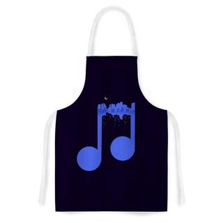 Digital Carbine 'Night Music' Blue Illustration Artistic Apron
