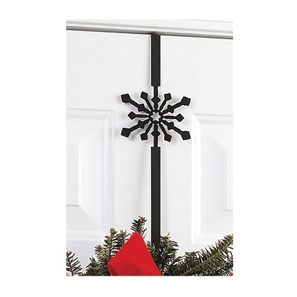 Black Wrought Iron Snowflake Wreath Hanger