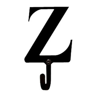 Letter Z Black Wrought Iron Small Wall Hook