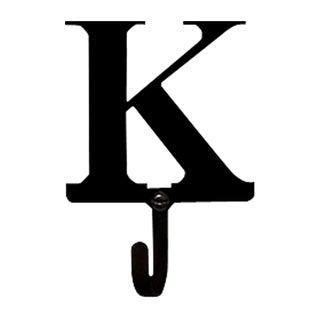 Letter 'K' Black Wrought Iron Small Wall Hook
