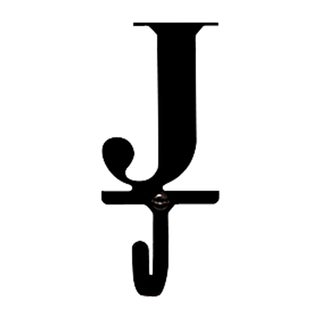 Letter 'J' Black Wrought Iron Small Wall Hook