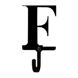'Letter F' Black Wrought Iron Small Wall Hook