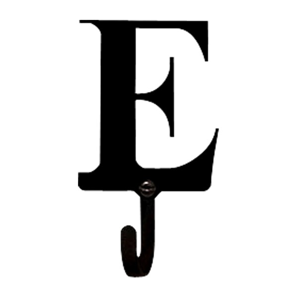 Black Wrought iron Letter E Small Wall Hook Free Shipping