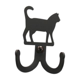 Cat Black Wrought Iron Double Wall Hook