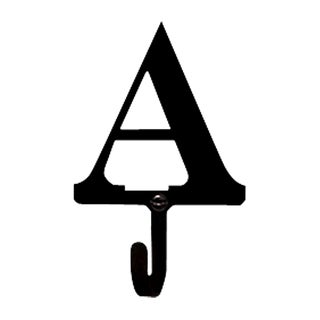 Letter A Black Wrought Iron Small Wall Hook