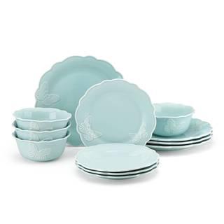 Lenox Butterfly Meadow Carved Blue 12 Piece Dinnerware Set