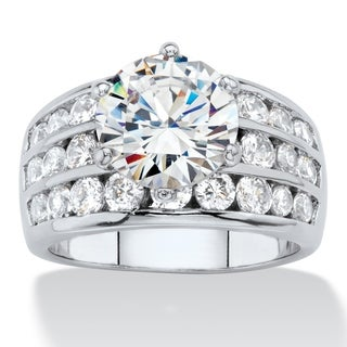 6.12 TCW Round White Cubic Zirconia Channel-Set Bridal Engagement Ring Platinum-Plated Classic CZ