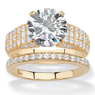 14k Yellow Gold 5.55tcw Round and Pave White Cubic Zirconia 2-piece Bridal Wedding Ring Set