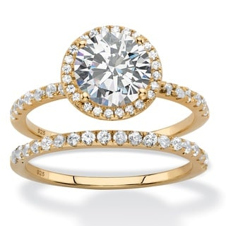 2.66 TCW Round White Cubic Zirconia 2-Piece Halo Bridal Wedding Ring Set in 14k Yellow Gold over Ste Classic CZ