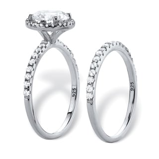 Platinum-over-sterling-silver 2.66 TCW Round White Cubic Zirconia 2-piece Halo Bridal Wedding Ring Set
