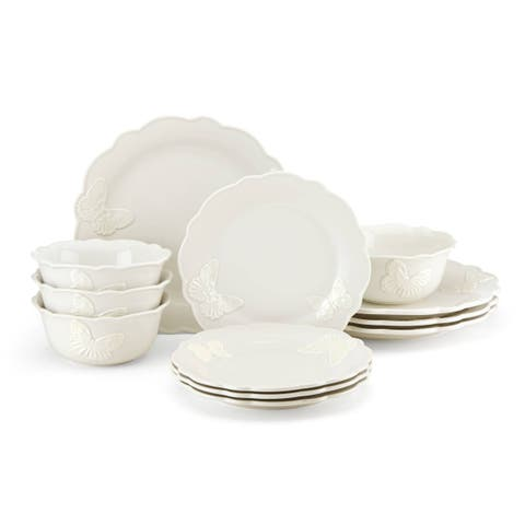 Lenox Butterfly Meadow Carved Vanilla 12-piece Dinnerware Set