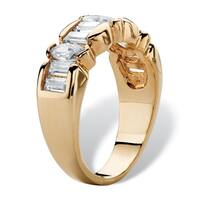 14K Yellow Gold-plated Cubic Zirconia Ring - White