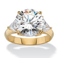 Yellow Gold-plated Cubic Zirconia 3 Stone Engagement Ring - White
