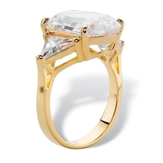 Yellow Gold-plated Cubic Zirconia 3 Stone Ring - White