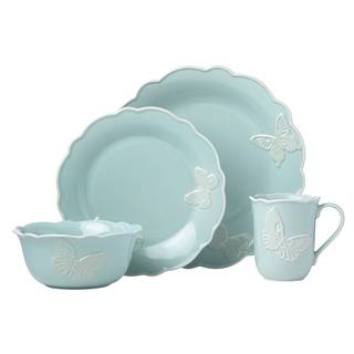 Charming Lenox Butterfly Meadow Carved Blue 4 Piece Place Setting