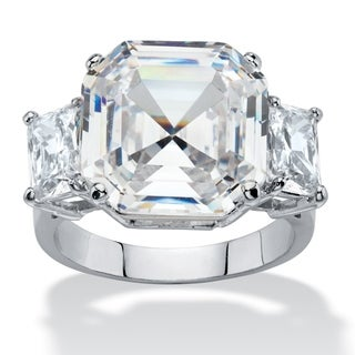 11.80 TCW Octagon-Cut Cubic Zirconia 3-Stone Engagement Anniversary Ring Platinum-Plated Glam CZ