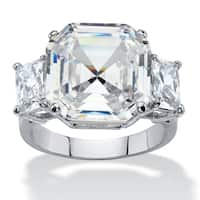Platinum-plated Cubic Zirconia Ring - White