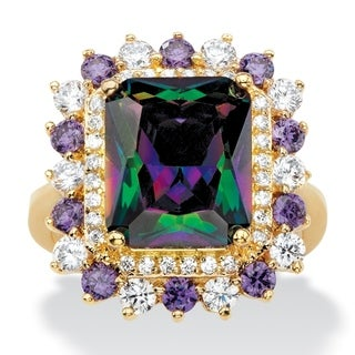 Yellow Gold-plated Mystic Fire Cubic Zirconia Ring - Multi/Purple/White